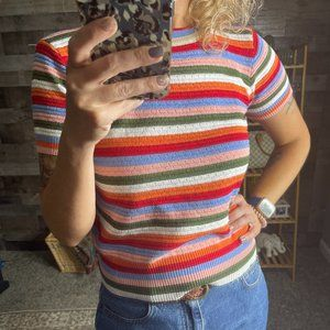 Unbranded Striped Y2K Ribbed Top